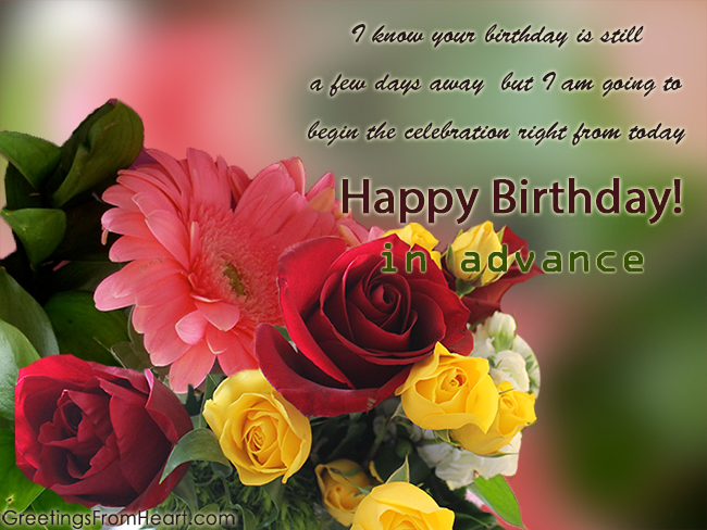 advance birthday greeting card